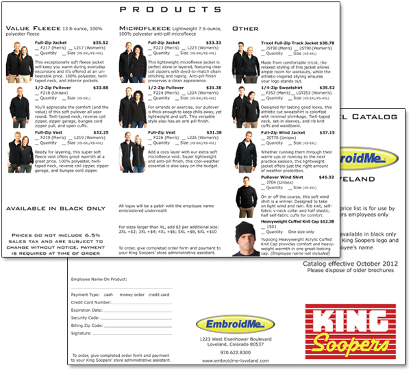 EmbroidMe King Soopers catalog